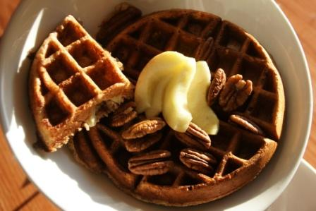 Whole Wheat Waffles With Pecans and Pears