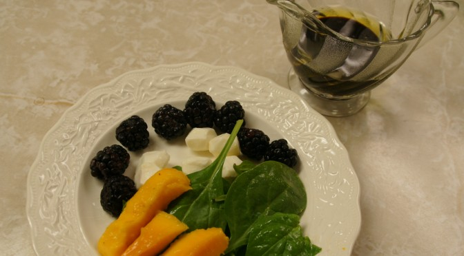 Mango, Spinach Salad with Fresh Mozzarella Drizzled with Chocolate Balsamic Vinegar