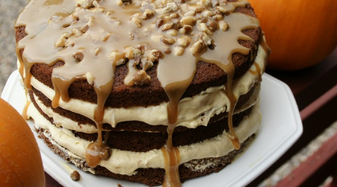 Pumpkin Cake with Caramel Sauce and Black Walnuts