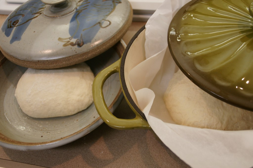 My favorite bread pans are stoneware with a lid. They  functions as a bread baker with similar results as an oven with a stone.