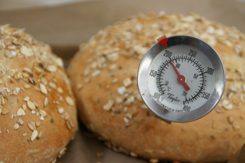 The internal temperature should be at least 200 degrees for 100% whole grain.