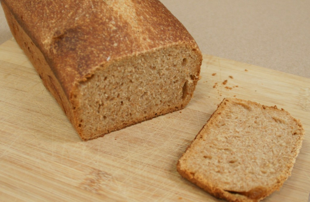 100% Spelt Sourdough bread has a tight, flavorful crumb.