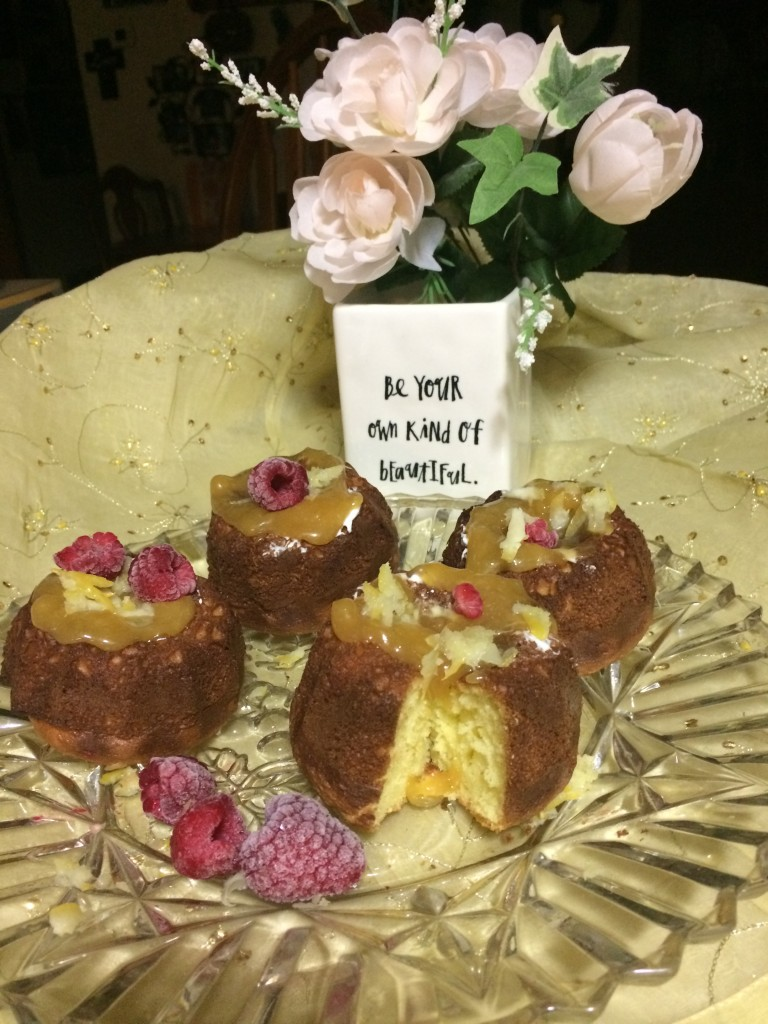 Debbie also made these gorgeous lemon mini bundt cakes. She made a homemade lemon curd and used lemon zest to garnish the mini bundt cakes.