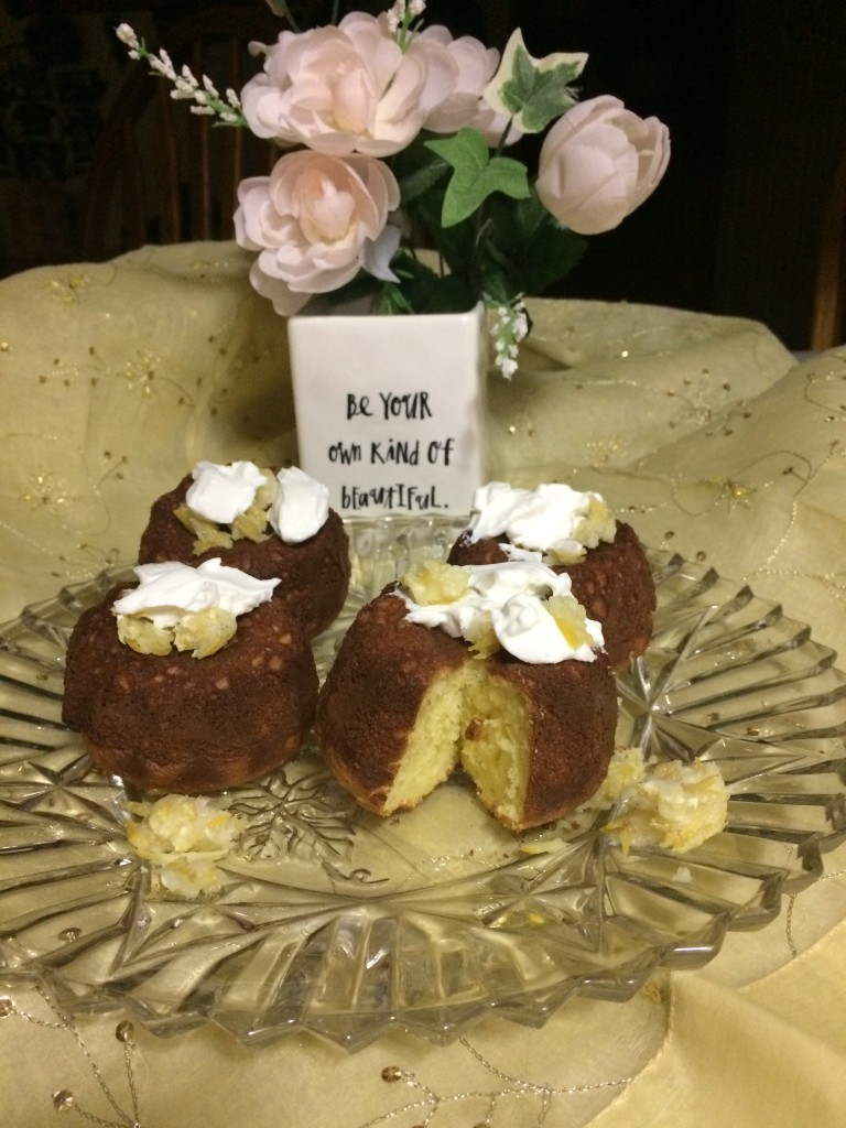 My sister Debbie sent this photo of mini vanilla cakes she made. For vanilla bundt mini cakes, omit chocolate and chocolate chips. For an amazing vanilla flavor, use a high quality real vanilla extract. The vanilla flavor sometimes does not come through in foods but mini bundt cakes do not reach that high of a  temperature  and the vanilla flavor of a good extract with shine through.